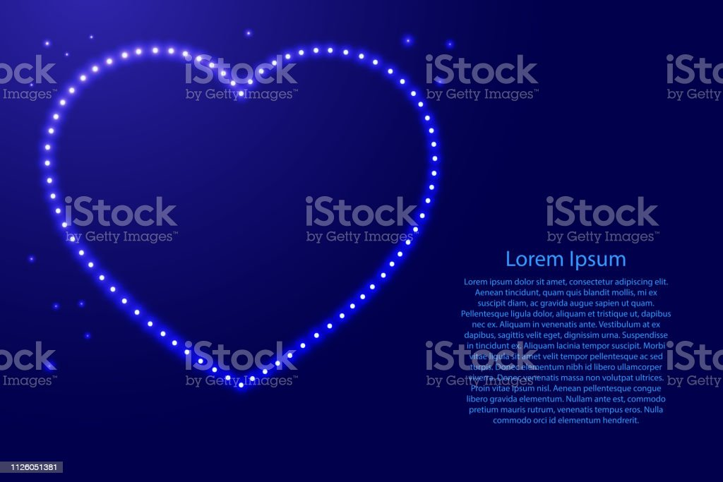 Heart love symbol for Valentine\'s day from luminous blue star space...
