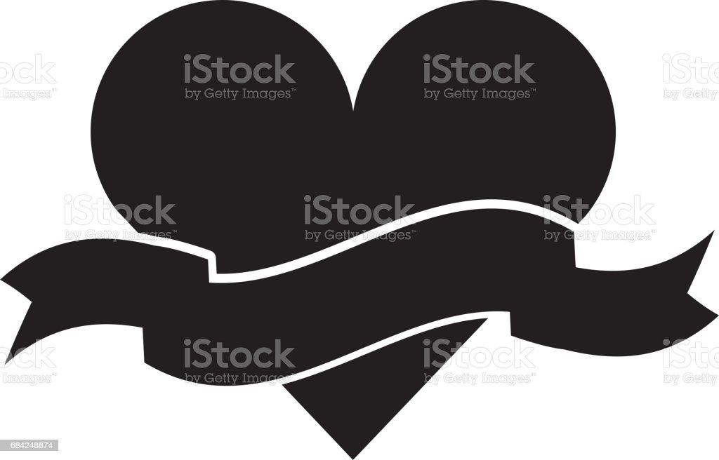 heart love with ribbon romantic icon royalty-free heart love with ribbon romantic icon stock vector art & more images of arts culture and entertainment