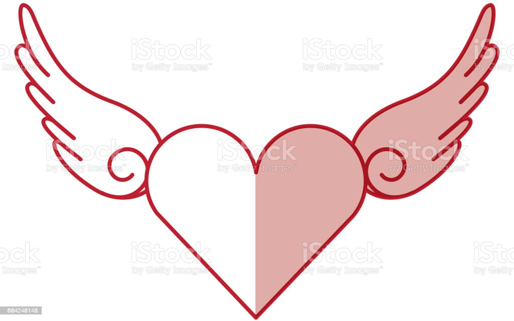 heart love with wings romantic icon royalty-free heart love with wings romantic icon stock vector art & more images of animal body part