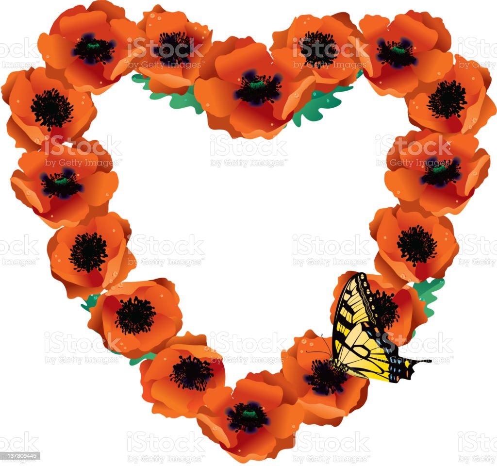 Heart made from Poppies with Yellow Swallowtail Butterfly royalty-free stock vector art