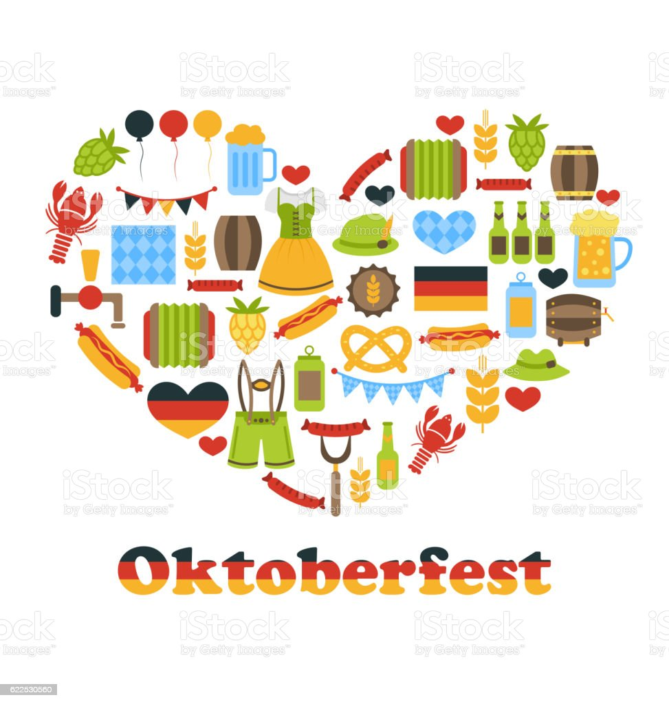 Heart made in Oktoberfest Colorful Symbols vector art illustration