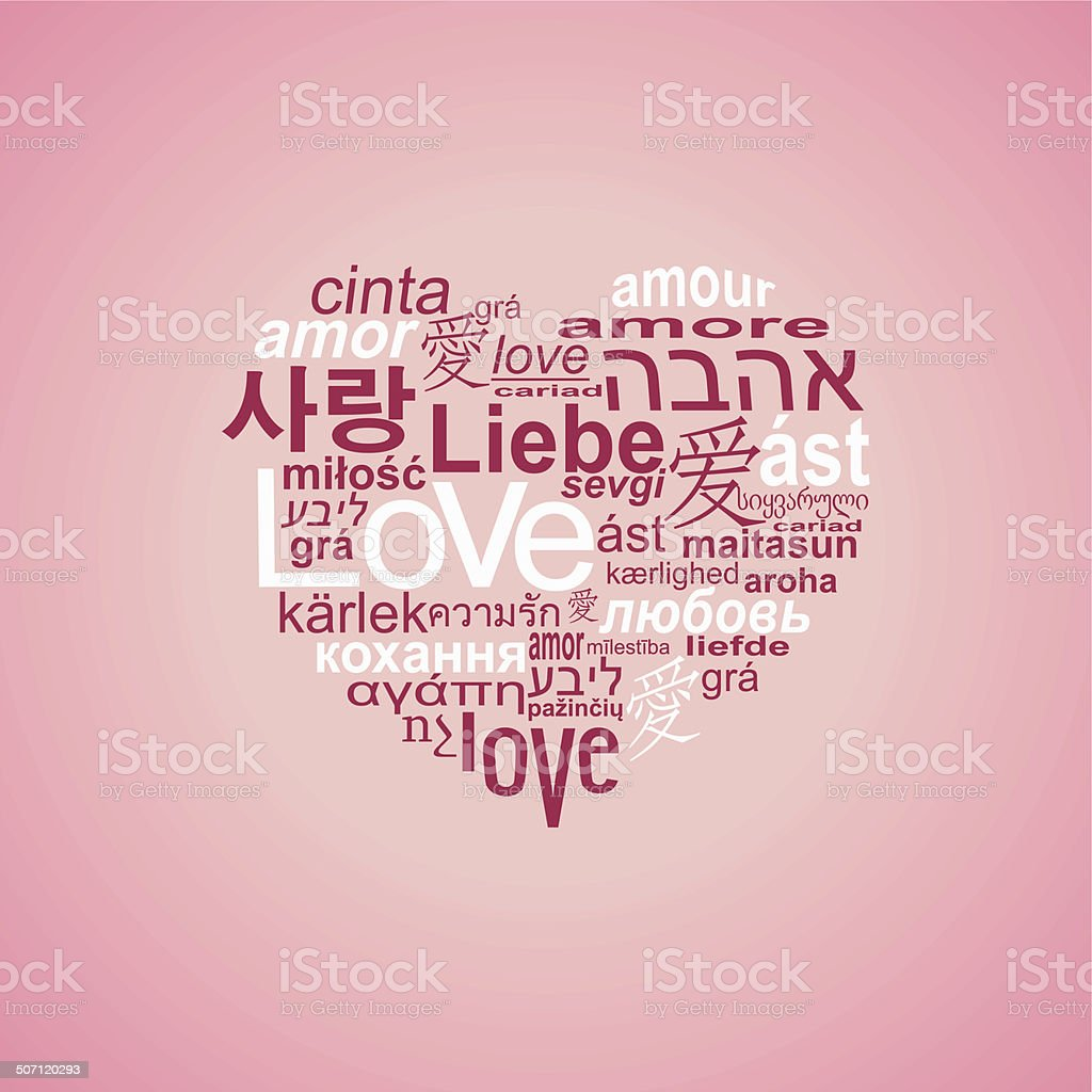 Heart made   love  in many languages royalty-free stock vector art