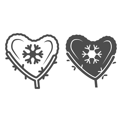 Heart made of snow on branch line and solid icon, World snow day concept, Christmas heart sign on white background, love symbol made with snowflakes icon in outline style for mobile. Vector graphics.