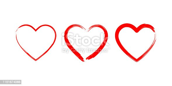 Heart made with brush love symbols. Drawing romantic elements isolated on white background. EPS 10