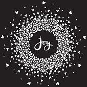 Heart mandala with joy hand written lettering. Vector calligraphic word surrounded by circled ornament on black background.