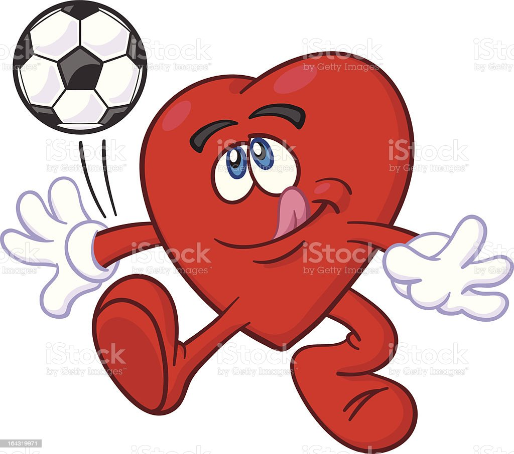 Heart Mascot Kicking Soccer Ball royalty-free stock vector art