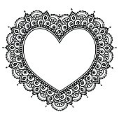 Valentie's Day vector black ornament - orient traditional style on white
