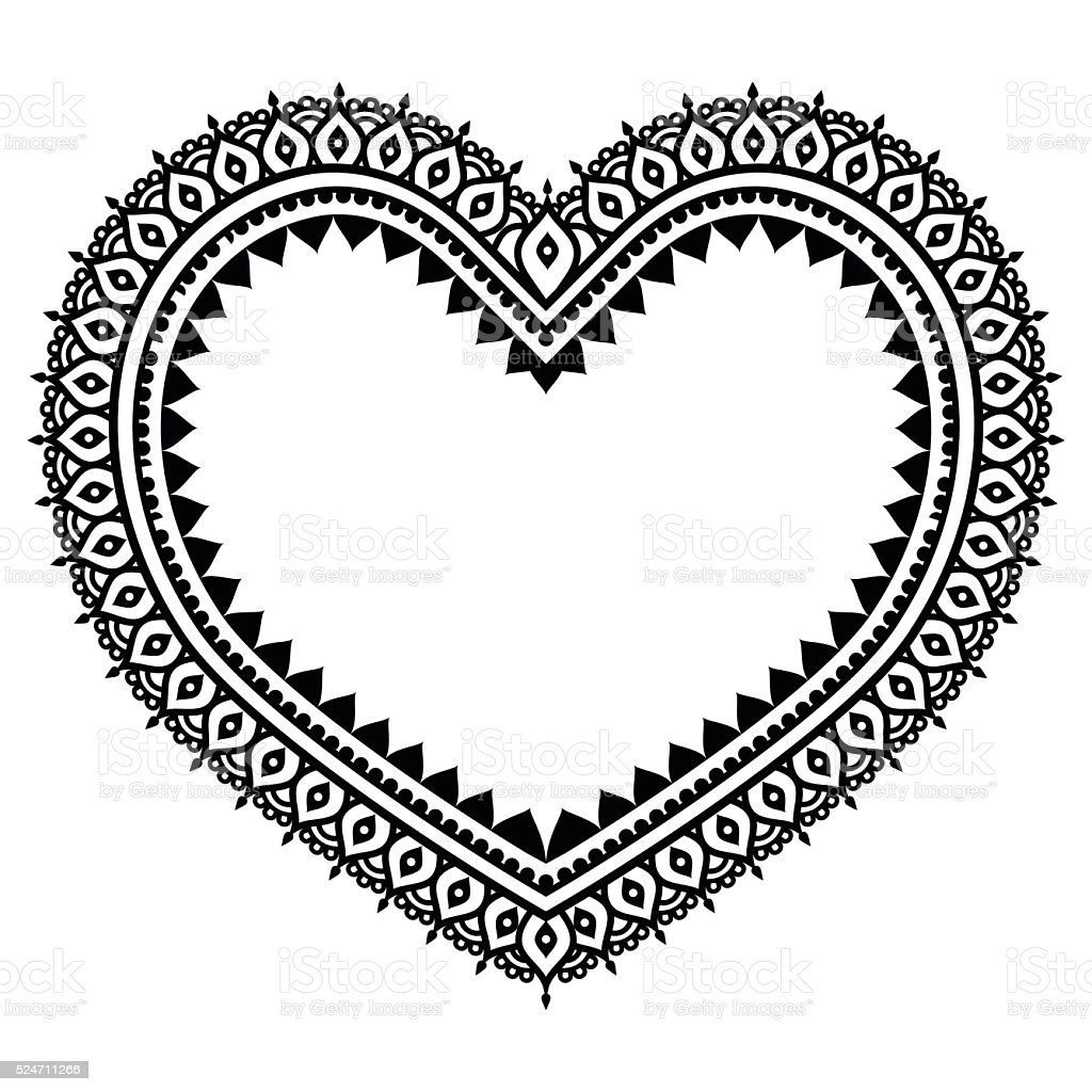heart mehndi design indian henna tattoo pattern stock vector art more images of abstract. Black Bedroom Furniture Sets. Home Design Ideas
