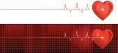 Vector illustration of two heart monitor banners.