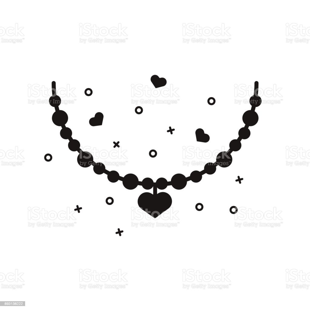 Heart Necklace Black Silhouette Woman Jewelry Sign Gold And Silver