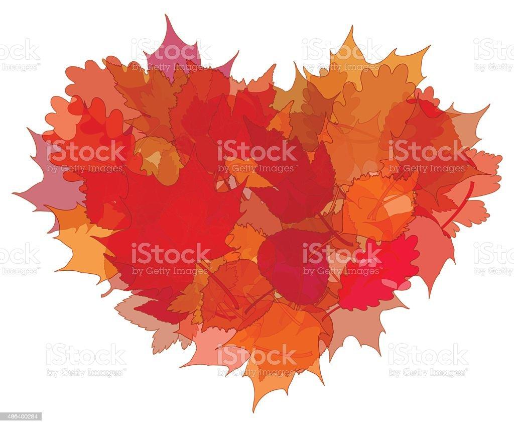 Heart of autumn leaves on white background. vector art illustration