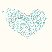 Heart of birds. Can be used for postcard, valentine card, wedding invitation - Vector