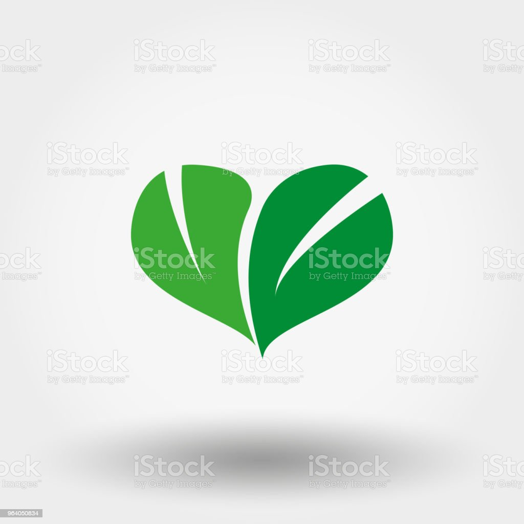 Heart of green leaves. Icon. Vector. Flat. - Royalty-free Abstract stock vector