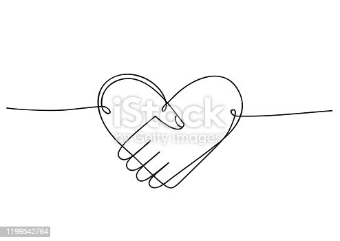 Heart of handshake as friendship and love icon. Continuous line art drawing. Hand drawn doodle vector illustration in a continuous line. Line art decorative design