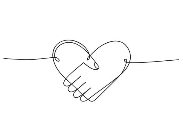 ilustrações, clipart, desenhos animados e ícones de coração do aperto de mão como a amizade e o ícone do amor. desenho contínuo da arte da linha. ilustração do vetor do doodle desenhada à mão em uma linha contínua. design decorativo da arte da linha - apoio