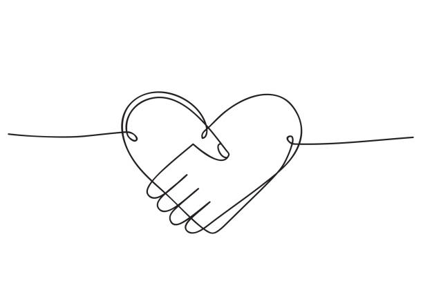 heart of handshake as friendship and love icon. continuous line art drawing. hand drawn doodle vector illustration in a continuous line. line art decorative design - помощь stock illustrations