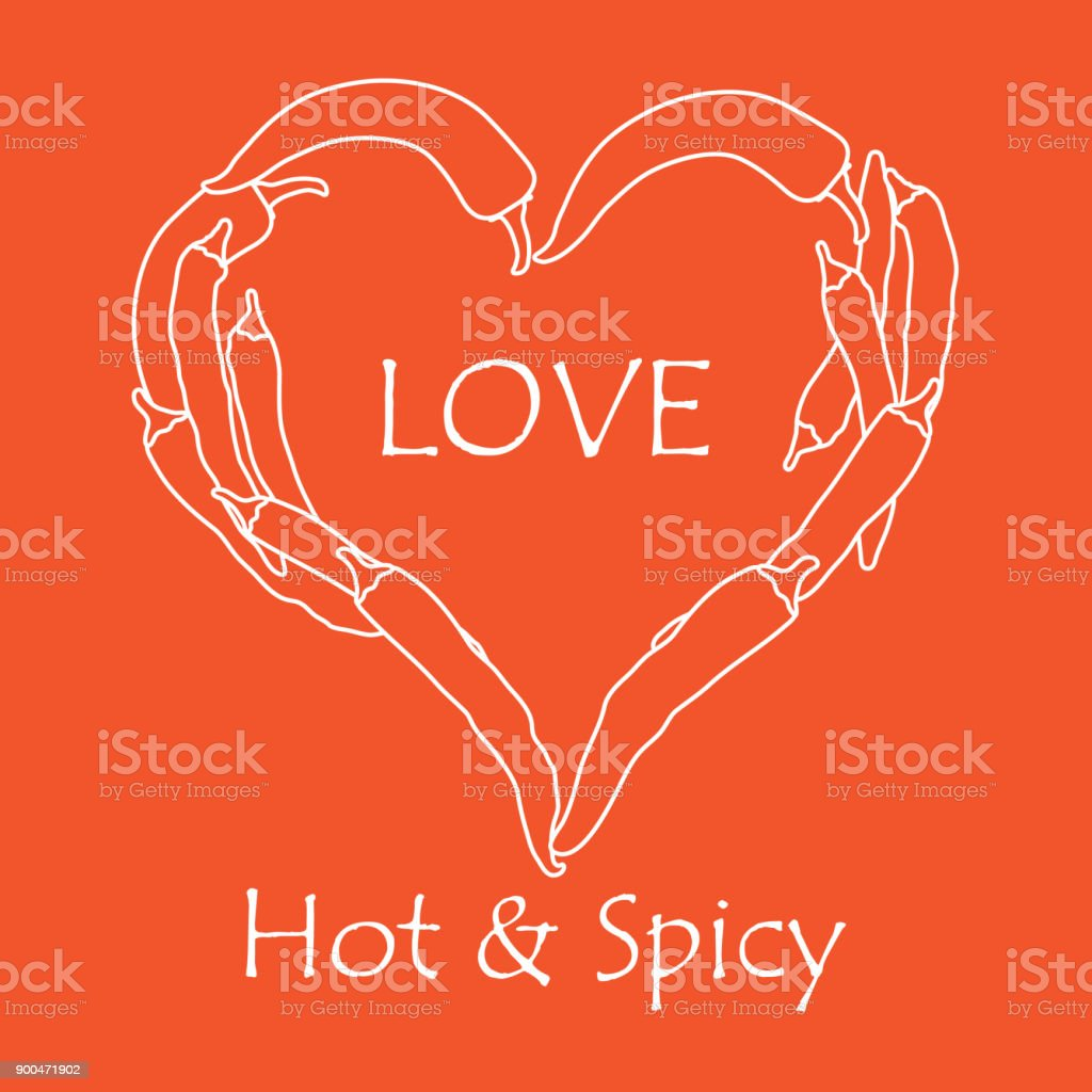 Heart of hot chilli peppers. Valentine's Day vector art illustration
