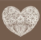 Heart of lace doily for Valentines Day or Wedding design.