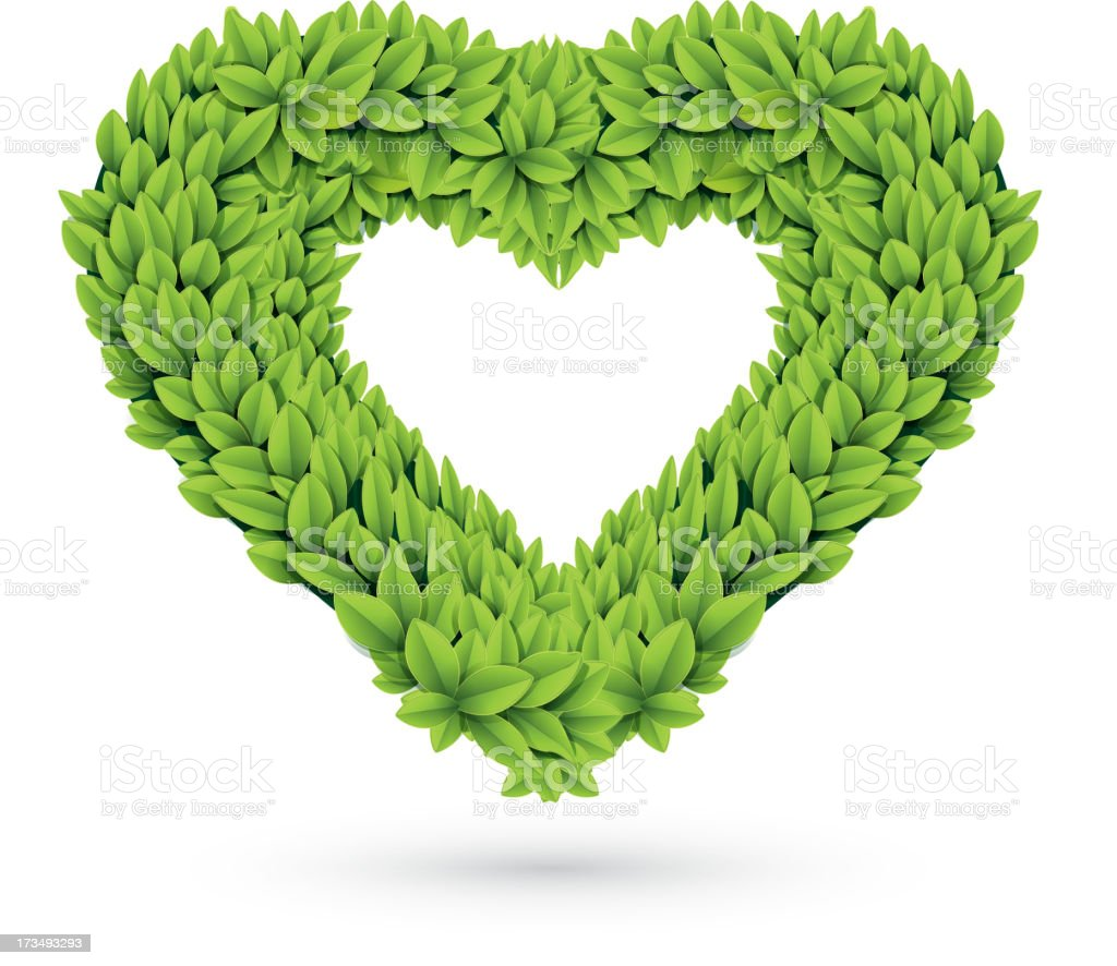 Heart of leaves with shadow royalty-free heart of leaves with shadow stock vector art & more images of environment