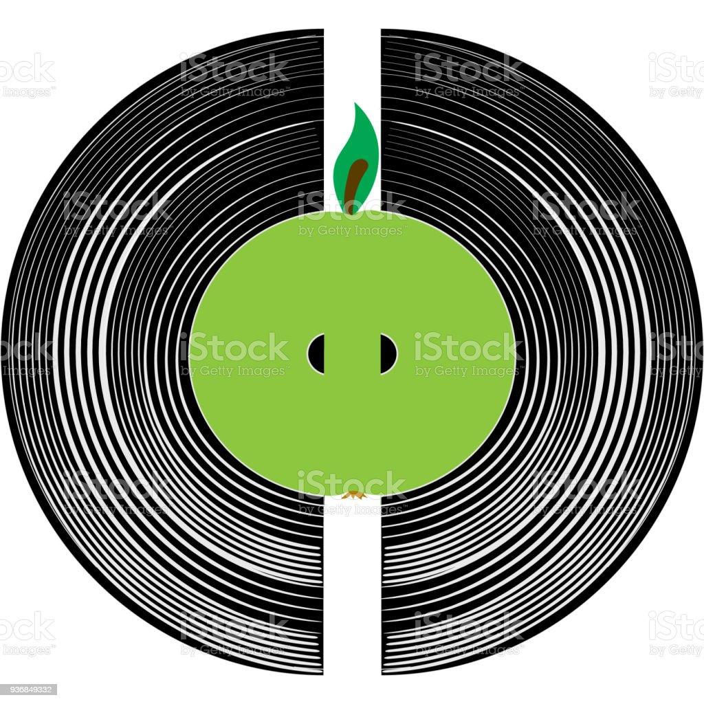 Ilustración de Corazón De La Música Un Disco De Vinilo Y Una Manzana ...