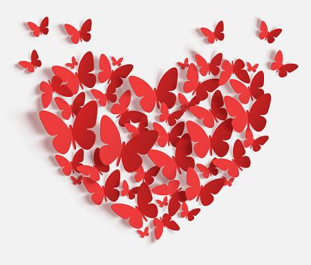 Heart of red paper butterflies