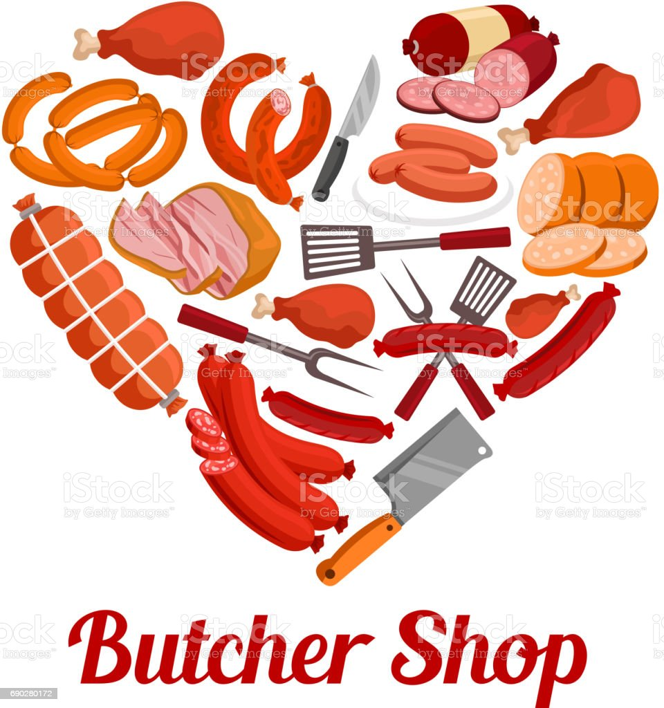 Heart of sausage, ham and bacon poster design vector art illustration