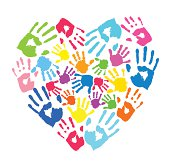 Heart of the handprints of father, mother and children.