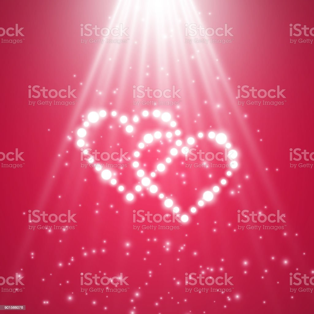 Heart Of The Lamps On A Transparent Background. Valentines Day Card. Heart  With Inscription