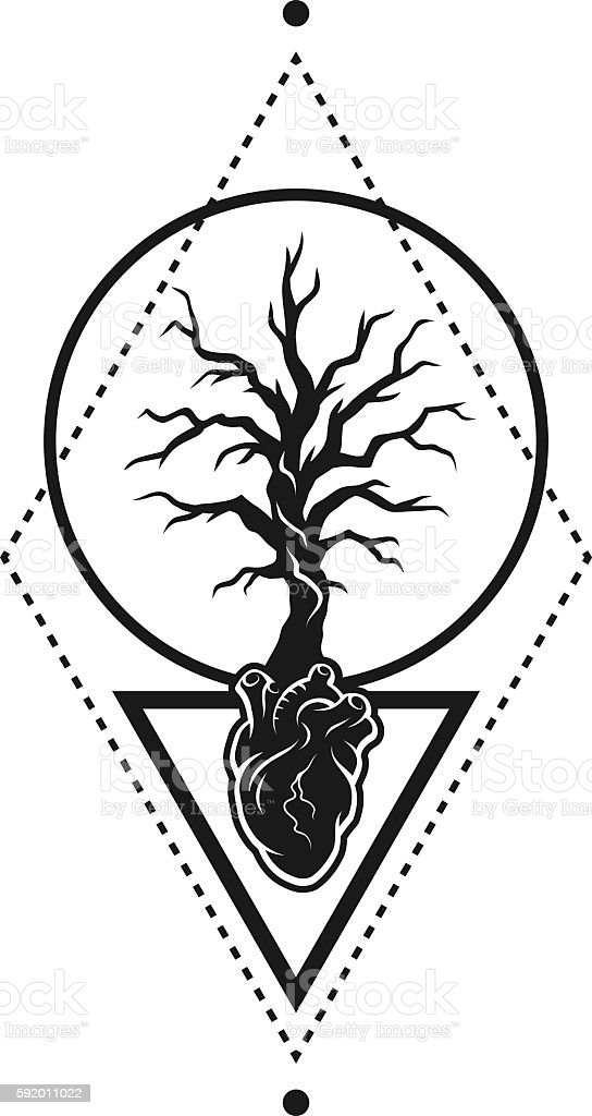 Heart Of The Tree As A Symbol Of Life Stockvectorbeelden 592011022