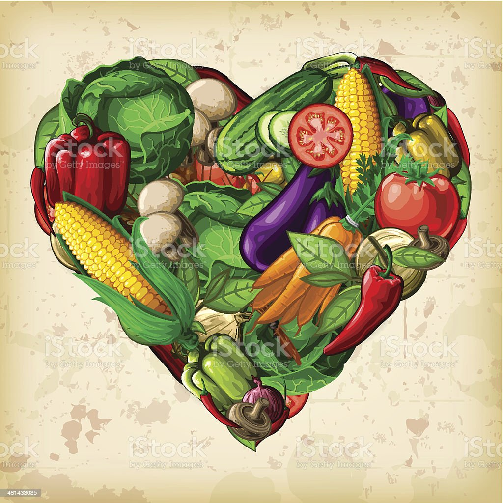 A heart-shaped montage of vectored vegetables. EPS 10 file, layered &...