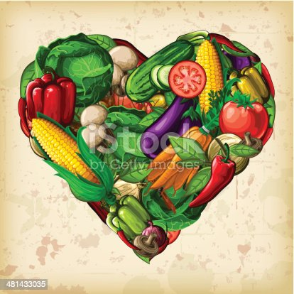 A heart-shaped montage of vectored vegetables. EPS 10 file, layered & grouped, with meshes and transparencies (shadows & overall effects only).