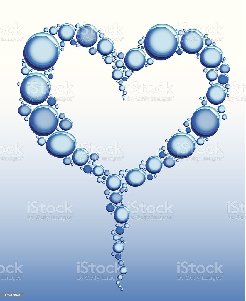 Heart of water bubbles royalty-free stock vector art