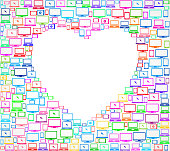 Heart on royalty free Digital Screen and Smart Phone interface icon pattern. The pattern features vector icons on white Background including laptop, computer mouse, screen, smart phone, tablet and internet technology icons. Image works for social media, marketing and technology and communication ideas. Icon download includes vector art and jpg file and Smart Phone Pattern