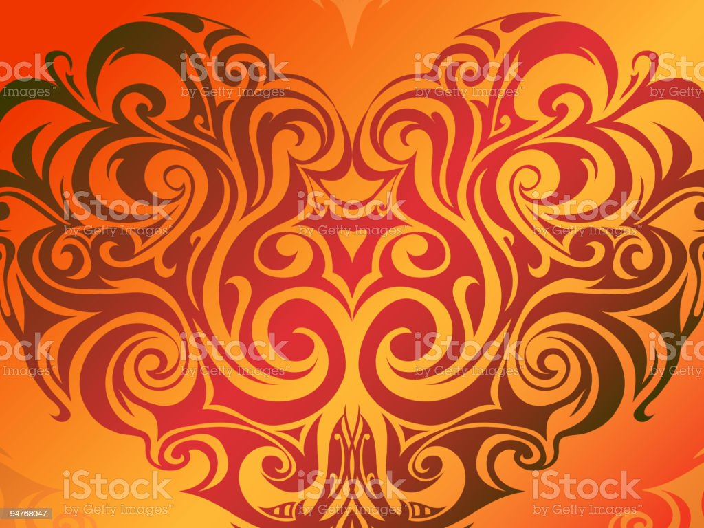 Heart on fire royalty-free stock vector art
