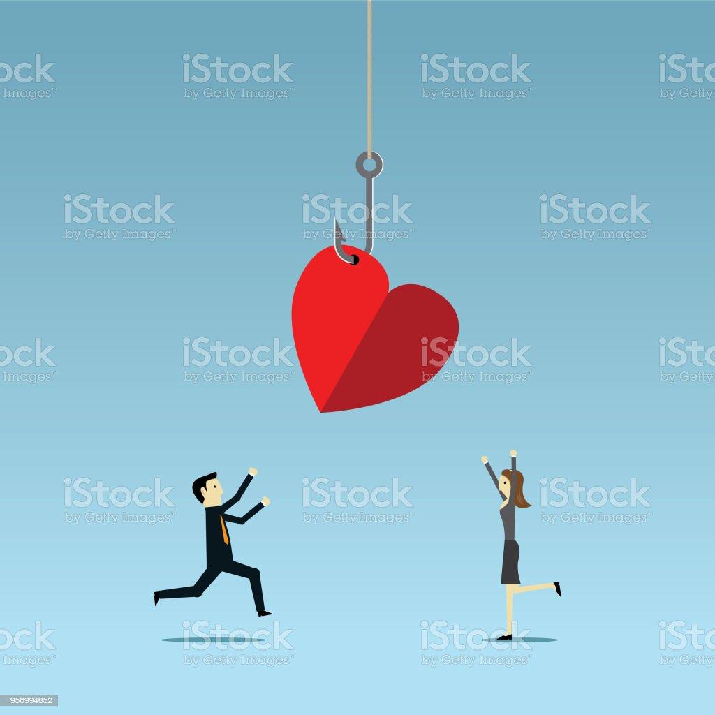 Heart on fishing hook vector art illustration