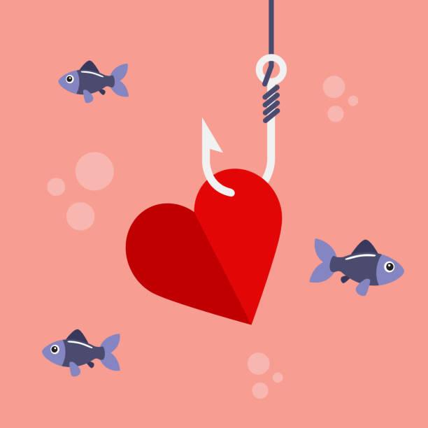 Corazón en gancho de pesca - ilustración de arte vectorial