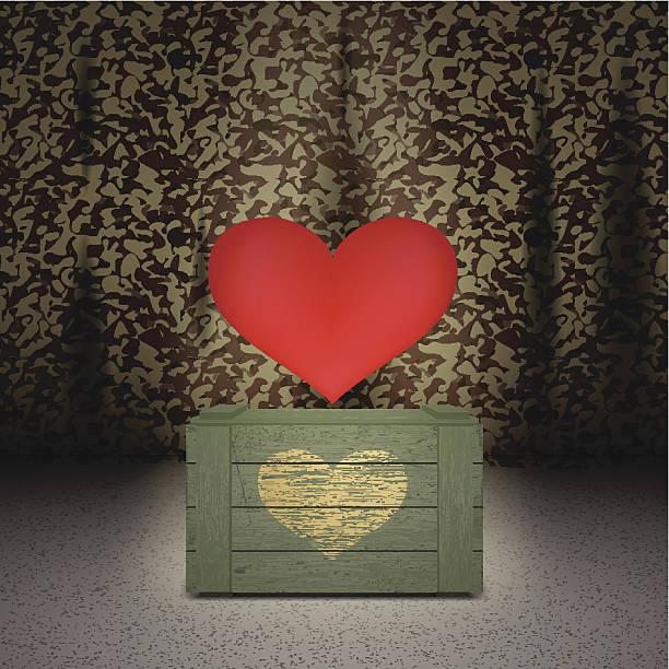 bildbanksillustrationer, clip art samt tecknat material och ikoner med heart on military background - balpress