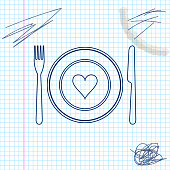 Heart on plate, fork and knife line sketch icon isolated on white background. Happy Valentine's day. Vector Illustration