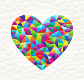 Heart on triangular pattern mosaic royalty free vector art. Colorful triangles form a mosaic design. This graphic design is set against a white triangular background. The pattern has a modern trendy look and the colors are bright. Icon download includes vector art and jpg file.