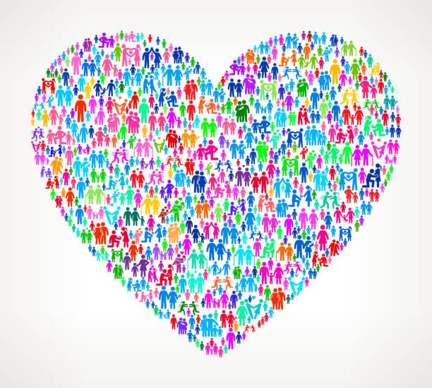 ilustrações, clipart, desenhos animados e ícones de coração em fundo branco com padrão de vetor para a família - casais do mesmo sexo