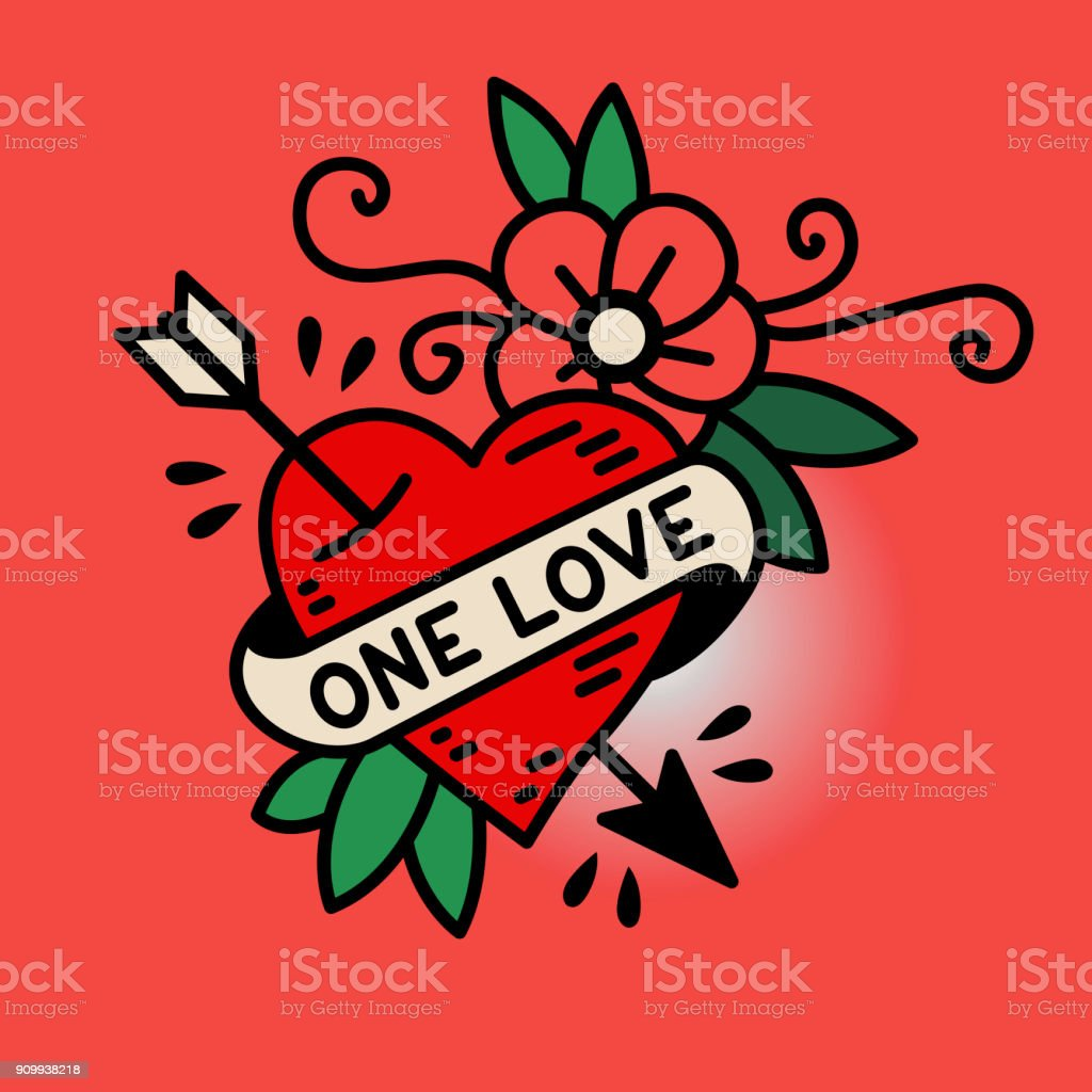 Heart One Love in the traditional style of old school tattoo vector art illustration