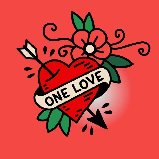 illustrations, cliparts, dessins animés et icônes de one love coeur dans le style traditionnel du tatouage old school - tatouages cœurs