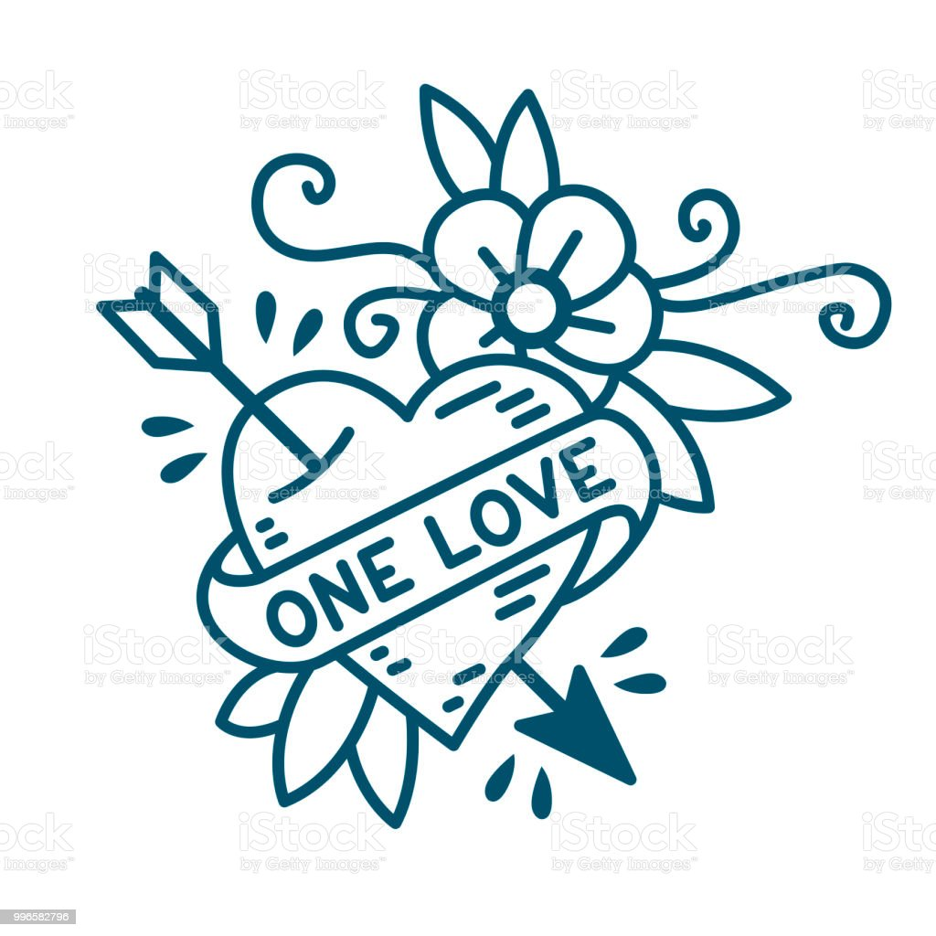 Heart One Love in traditional style of old school tattoo vector art illustration