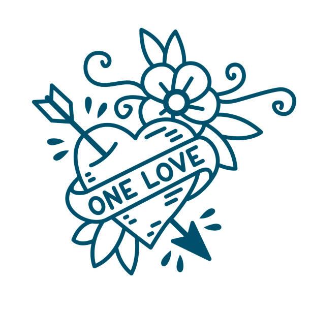 illustrations, cliparts, dessins animés et icônes de one love coeur traditionnel de style du vieux tatouage de l'école - tatouages cœurs