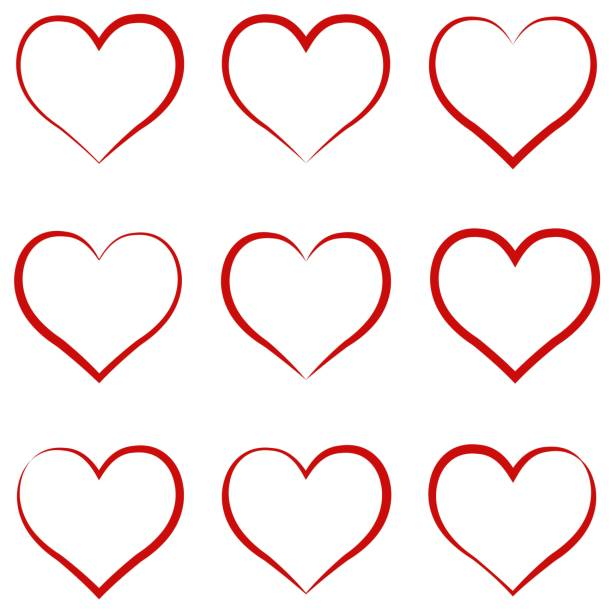 heart outline red, set, symbol of the friendship and intimacy of valentines day love vector calligraphy hand draw the heart, concept of love - heart stock illustrations, clip art, cartoons, & icons