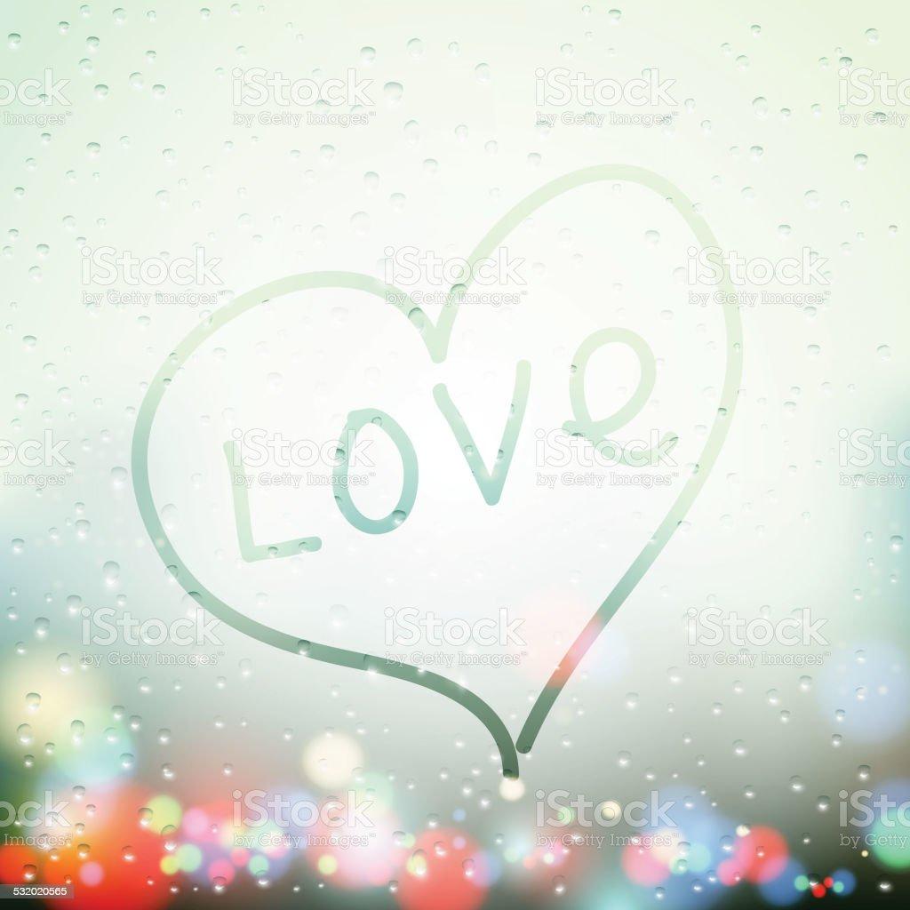 heart painted on sweaty Window vector art illustration