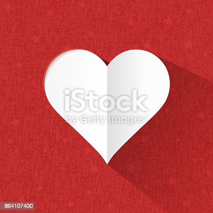 Heart Paper On Red Background Stock Vector Art & More Images of Abstract 864107400