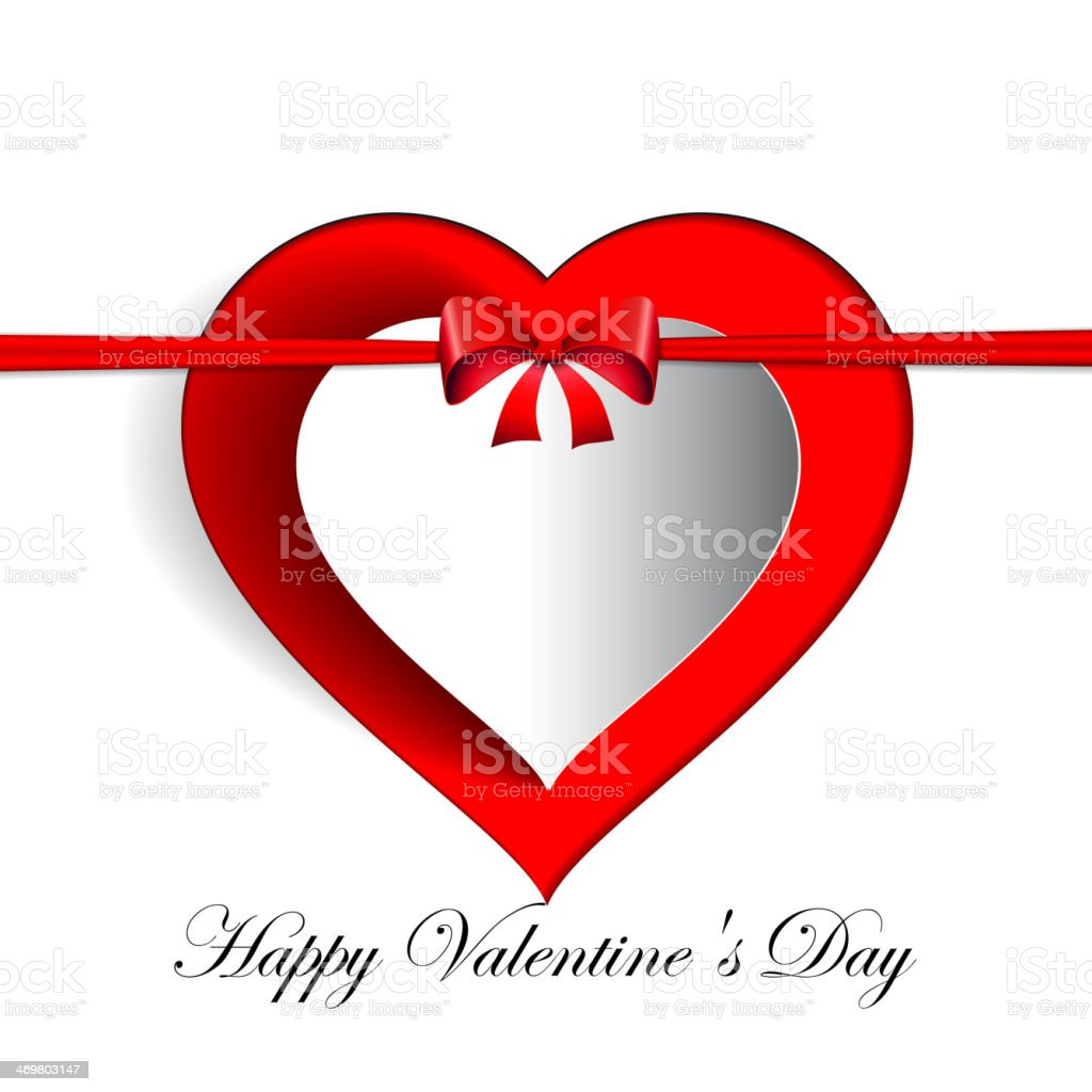 Heart Paper Sticker With Shadow, Valentine love card royalty-free stock vector art