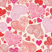 Vector seamless pattern with hearts. Hihg res jpg included. AI10-compatible EPS..
