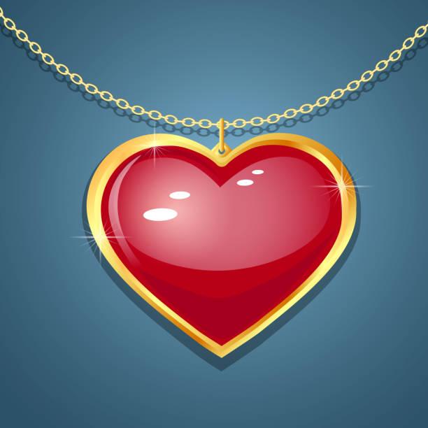 ilustrações de stock, clip art, desenhos animados e ícones de heart pendant vector - porta retrato